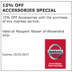 Passport Nissan VA Offers 15% Off Accessories Special